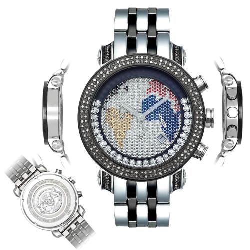 Men's Diamond Watch Joe Rodeo Classic JCL40(W) 1.75 Ct World Map Dial