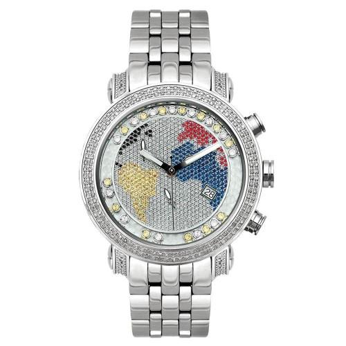 Men's Diamond Watch Joe Rodeo Classic JCL49(WY) 1.75 Ct World Map Dial