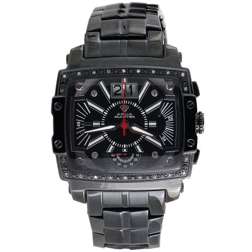 Mens Diamond Watch Aqua Master Jojo Jojino Joe Rodeo Black 0.24 Ctw. W#329