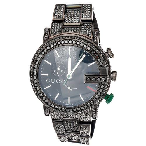 Mens Custom 101G Black Diamond Gucci Chronograph Watch YA101331 44mm 9.50 CT.