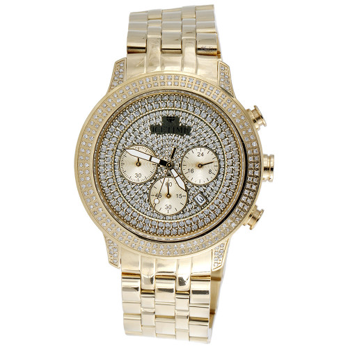 Mens New IceTime Diamond Watch Yellow Steel 45mm Illusion Dial PE-02 Prince 1 Ct