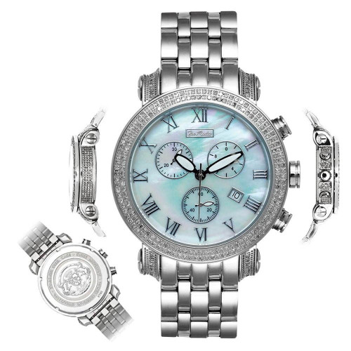 Men's Diamond Watch Joe Rodeo Classic JCL18 3.5 Ct Illusion Dial Mother Of Pearl