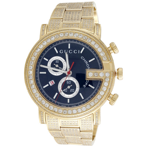 Diamond Gucci Ya101334 Watch 9.50 Ct New Custom Mens 101 G Gold PVD Real 44 MM
