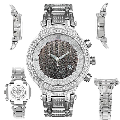 Men's Diamond Watch Joe Rodeo Master JJM16 5.20 Ct Black Illusion Dial
