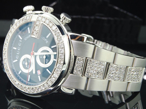 Diamond Gucci Ya101309 G-Watch 6 Ct. Customs Mens 101 G Steel 44mm Face