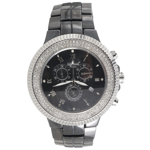 Mens Diamond Watch IceTime Joe Rodeo JoJo Black Ceramic Chronograph 1.50 Ctw.