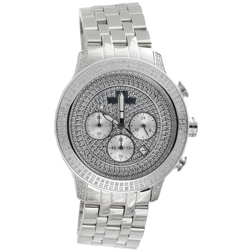 Mens New IceTime Diamond Watch 45mm Case Crushed Illusion Dial PE-01 Prince 1 Ct