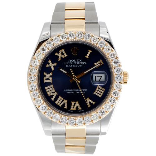 Mens 41mm 116333 Rolex DateJust II Two Tone Diamond Watch Blue Roman Dial 5 CT.