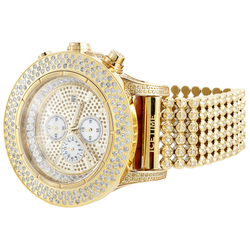 Mens Iced Out Diamond Band Watch IceTime Crown 2 Joe Rodeo Illusion Face 14 Ct.