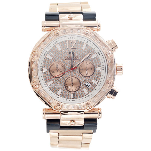 Mens Aqua Master Jojino Diamond Watch 47mm Rose Stainless Steel W#147 0.25 Ct.