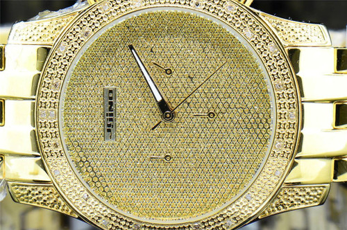 Mens Yellow Tone Jojino Joe Rodeo 0.25 Ct. Diamond Illusion Dial Watch IJ1122