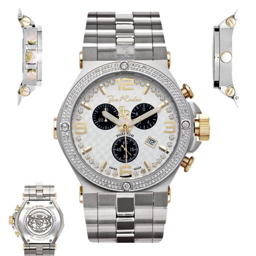 Men's Diamond Watch Joe Rodeo Phantom JPTM23 2.25 Ct Chronograph White Dial