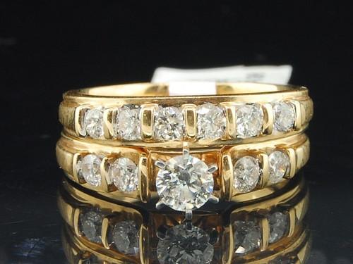 Solitaire Diamond Bridal Set 14K Yellow Gold Engagement Ring Wedding Band 1 Ct.