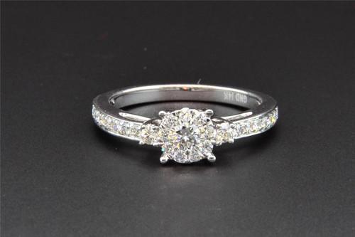 3 Stone Diamond Engagement Ring 14K White Gold Round Cut 1/2 Ct