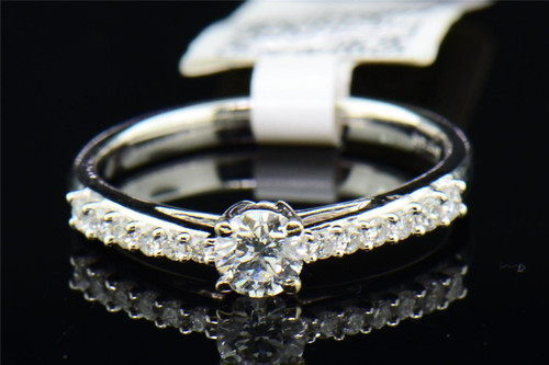 Round Solitaire Diamond Engagement Ring 14K White Gold Prong Set 1/2 Ct