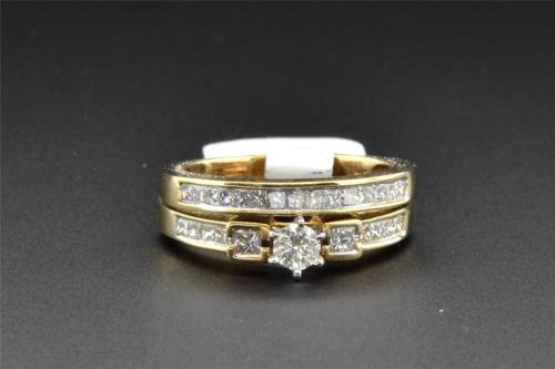 Solitaire Diamond Bridal Set 14K Yellow Gold Engagement Ring Wedding Band 1 Ct