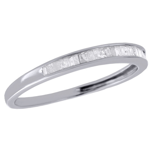 .925 Sterling Silver Baguette Diamond Wedding Band Anniversary Ring 0.17 Ct.