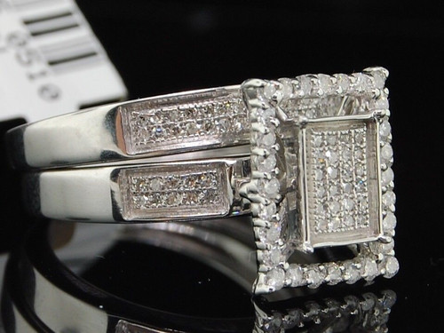 .925 Sterling Silver Round Cut Diamond Engagement Ring Wedding Band Set 1/2 Ct.