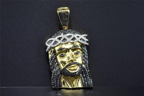 Black Diamond Mini Jesus Face Pendant Piece 10K Yellow Gold 1.60 CT Charm 2 Inch
