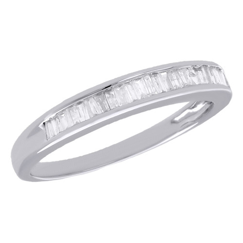 10K White Gold Baguette Diamond Wedding Band 2.75mm Anniversary Ring 0.25 Ct.