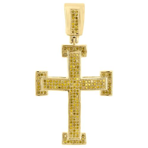 "10K Yellow Gold Canary Diamond Medium Cross Pendant 1.95"" Pave Charm 0.80 Ct."
