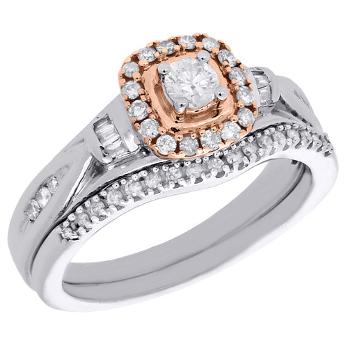 10K White & Rose Gold Solitaire Round Diamond Engagement Ring Bridal Set 0.50 Ct
