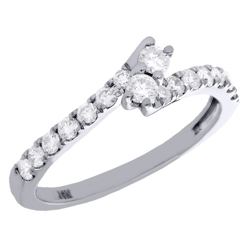 14K White Gold Two Stone Bypass Diamond Love & Friendship Engagement Ring 1/2 Ct
