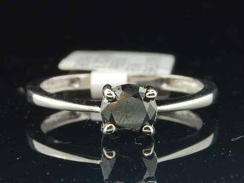 10k White Gold Black Diamond Round Solitaire Engagement Promise Ring 0.76 Ct.