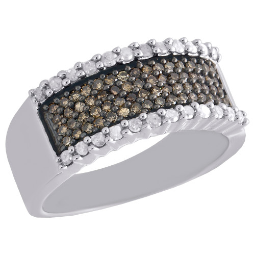 .925 Sterling Silver Brown Diamond Wedding Band Ladies Anniversary Ring 0.75 Ct.