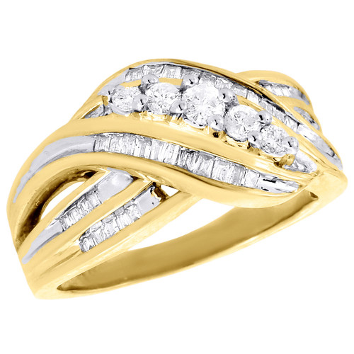 10K Yellow Gold Baguette Diamond Crossover Band Ribbon Cocktail Ring 1/2 Ct.