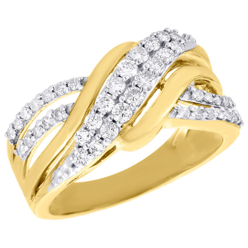 10K Yellow Gold Ladies Round Diamond Crossover Band Ribbon Cocktail Ring 1/2 Ct.