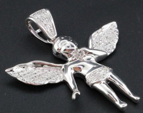 Mini Angel Diamond Pendant .925 Sterling Silver Charm 0.18 Ct.