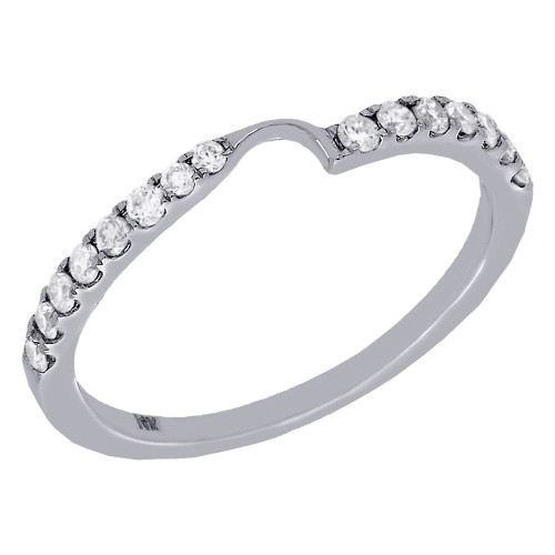 14K White Gold Two Stone Love & Friendship Diamond Ring Engagement Band 1/4 Ct.