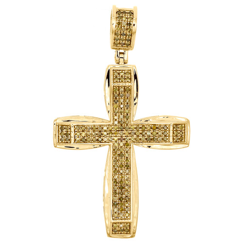 10K Gold Canary Yellow Diamond Domed Cross Pendant Mens Pave Set Charm 0.44 CT.
