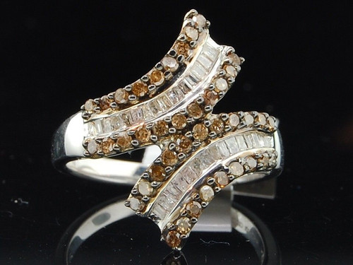 .925 Sterling Silver Round Baguette Cut Brown Diamond Cocktail Right Hand Ring