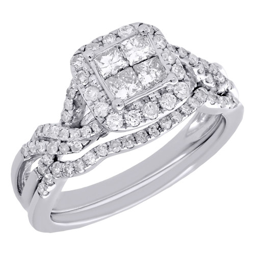 14K White Gold Diamond Double Infinity Bridal Set Engagement Ring Wedding 1 Ct.