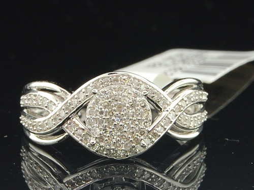 Diamond Pave Fashion Right Hand Cocktail Ring 10K White Gold Round Cut 1/3 Ct