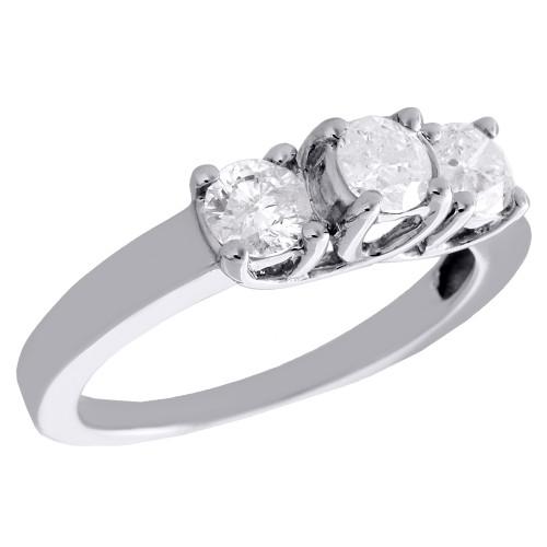14K White Gold Round Cut Solitaire Diamond 3 Stone Wedding Engagement Ring 1 CT.