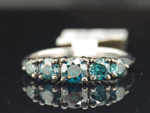 1 CT Blue Diamond 5-Stone Wedding Anniversary Ring 10K White Gold Round Cut