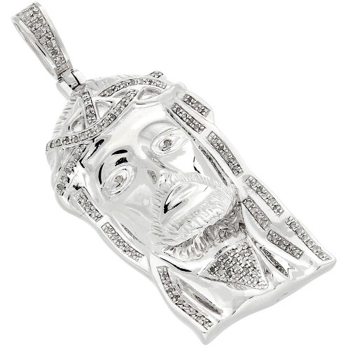 .925 Sterling Silver Diamond Micro Mini Jesus Face Piece Pendant Charm 0.75 CT
