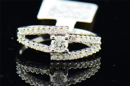 Solitaire Diamond Engagement Ring 14K White Gold Round Cut 1/2 Ct Split Design