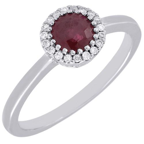 Diamond Genuine Red Ruby Cocktail Ring 14K White Gold Round Design 0.77 Tcw