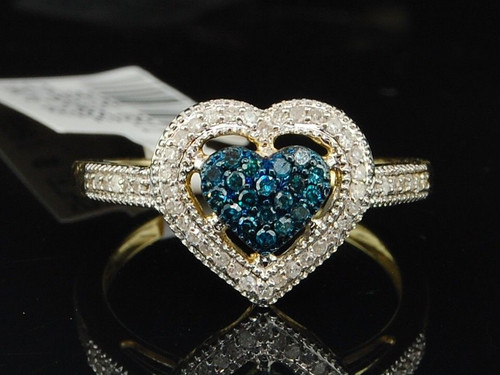 Ladies 10K Yellow Gold Blue Diamond Heart Engagement Promise Ring Wedding Band