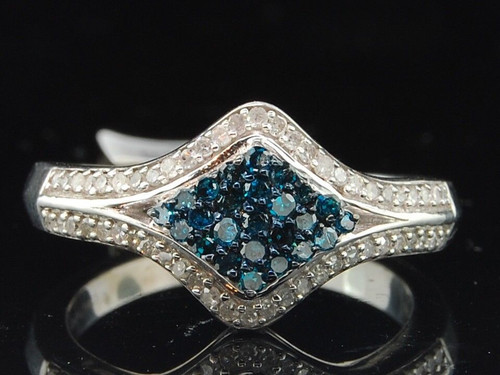 Blue Diamond Cluster Oval Right Hand Cocktail Ring .925 Sterling Silver 0.50 Ct