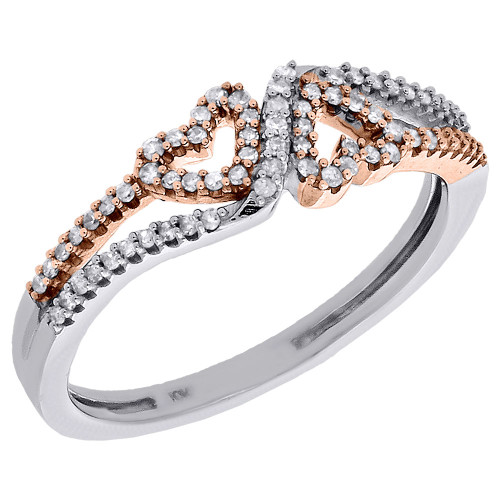 10K White & Rose Gold Two Tone Diamond Cut Out Double Heart Promise Ring 1/5 Ct.
