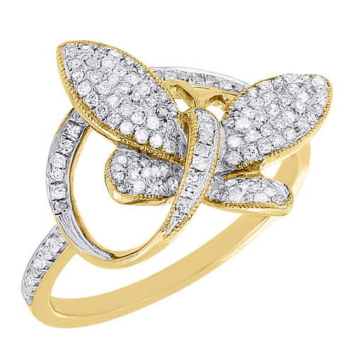 10K Ladies Yellow Gold Diamond Fashion Butterfly Style Ring Engagement 0.40 ct.