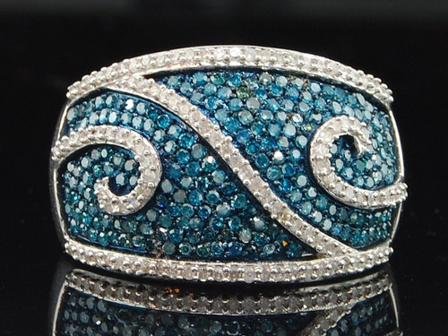 Blue Diamond Domed Swivel Right Hand Ring White Gold Fashion Cocktail Band 1 Ct.
