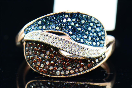 Red White & Blue Diamond Cocktail Ring 10K Rose Gold Pave Fashion Design 1/2 Tcw