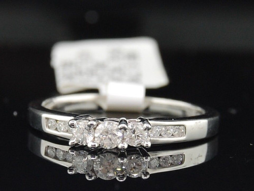 Ladies 14K White Gold 3 Stone Diamond Engagement Ring Wedding Band Channel Set