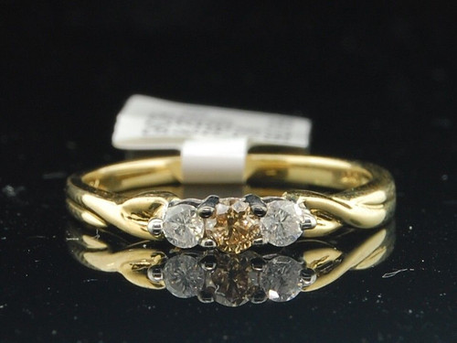 Yellow Gold Brown Solitaire Round Diamond Three Stone Engagement Promise Ring